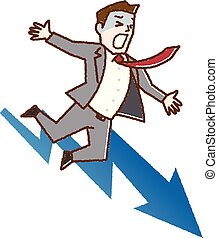 Business man falling from graph