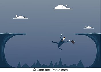 Business Man Falling In Cliff Gap Businessman Fail Bankruptcy Crisis Concept