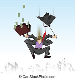 Business man falling with umbrella