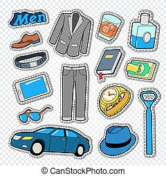 Business Man Fashion Style Doodle. Male Stickers, Badges and Patches with Clothing and Accessories. Vector illustration