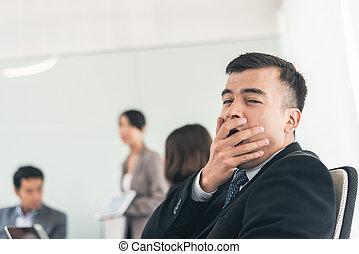 business man feel boring