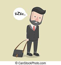Business man feel sleepy
