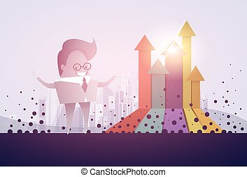 Business Man Finance Graph Arrow Up Financial Success Concept