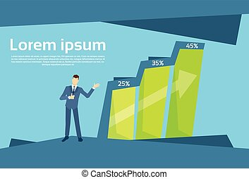 Business Man Financial Bar Growing Up Success Concept Growth Chart