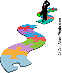 Business man find missing piece puzzle path - Puzzled ...