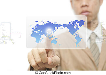 Business man finger pressing a worldmap touchscreen button...