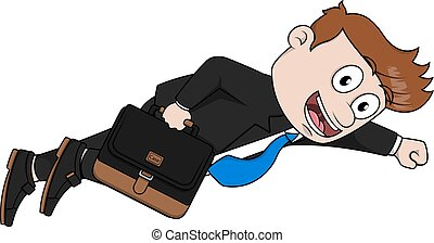 Business man fly hero  illustration