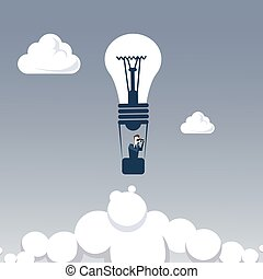 Business Man Fly On Light Bilb Air Balloon Hold Binocular...