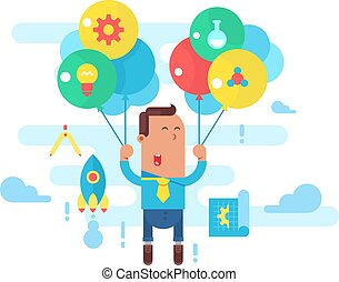 Business man fly with balloons. Concept startup