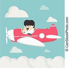 business man flying a plane retro