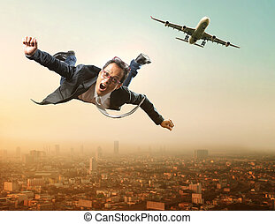 Business Man Flying From Passenger Plane Over Sky Scraper