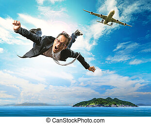 business man flying from passenger plane over natural blue ocean island use for people holiday and vacation time to relaxing destination