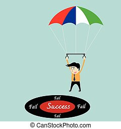 Business man focused on a target with parachute.