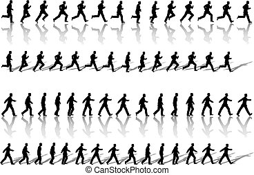 A business man runs & power walks to success in animation' sequence frame loops, with reflection and shadow. Use cels as elements, sequences as borders
