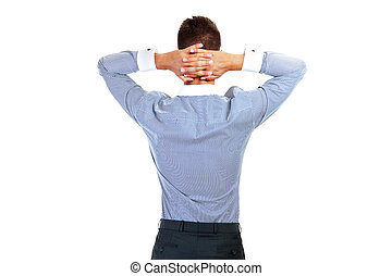 business man from the back - looking at something over a white background