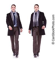 business man full body walking - young business man full...