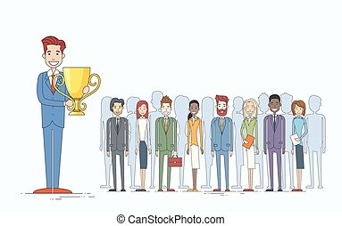 Business Man Get Prize Businesspeople Group Team Leader Success Concept