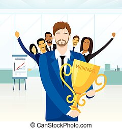 Business Man Get Prize Winner Cup, People Congratulating...