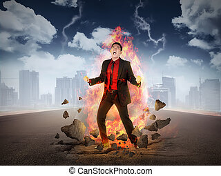Business man get rage with flame over his body