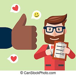 Business man get thumb up color