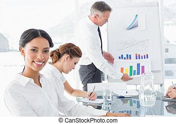 Business man giving a presentation