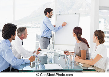 Business man giving a presentation to his team