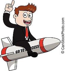 Business man go to success rocket