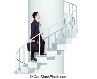 business man going upstairs in a curved staircase to success