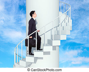business man going upstairs in a curved staircase to success with blue sky