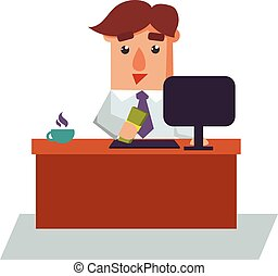 Business Man Got Salary Cartoon Character Vector Illustration