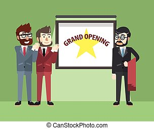 Business man grand opening