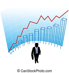 Business man graph chart curve success concept