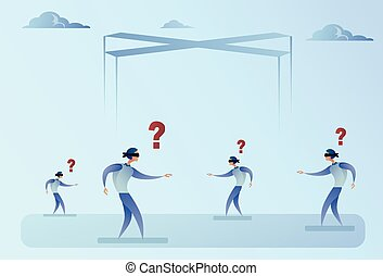Business Man Group Blind Forded Walking With Question Mark...