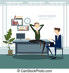 Business Man Group Interior Workplace, Businessman Manager Office Worker