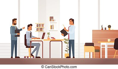 Business Man Group Meeting Discussing Office Desk Businesspeople Working