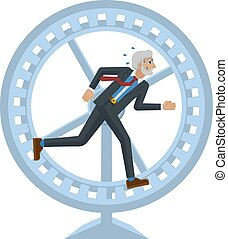 A stressed and tired looking mature businessman running as fast as he can in a hamster wheel to keep up with his workload or compete. Business concept illustration in flat modern cartoon style