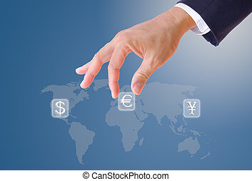 business man hand bring up euro sign button