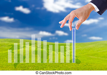 business man hand bring up the graph in blue sky