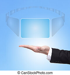business Man hand choice virtual screen