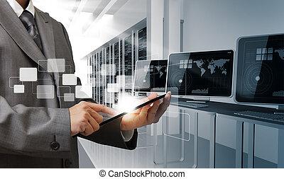 controls computer room - business man hand controls computer...