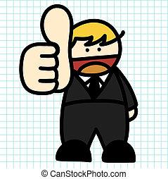 Business man hand draw cartoon.