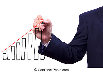 business man hand drawing graph isolated