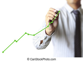 Business man hand drawing graph - Business man hand drawing...