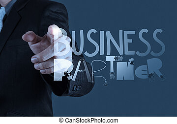 business man hand drawing web content grahic word diagram as concept
