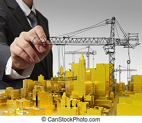 business man hand draws golden building development concept