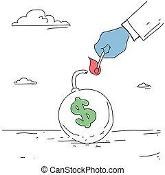 Business Man Hand Fire Money Bomb Credit Debt Finance Crisis Concept