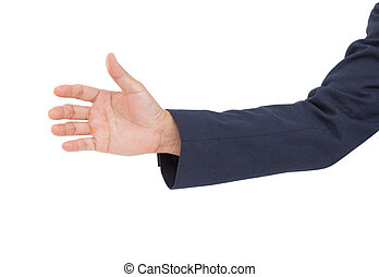Business man hand grab isolated on white background