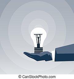 Business Man Hand Hold Light Bulb New Creative Idea Concept