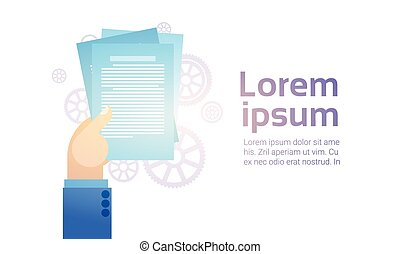 Business Man Hand Hold Paper Documents, Sign Up, Contract Agreement Concept