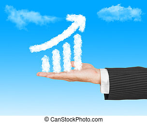 Business man hand holding a growth graph ( made by cloud ) in th